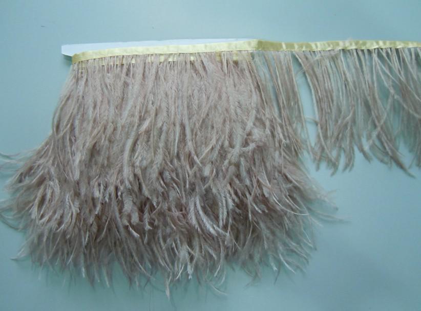 Gratis verzending 10 yards / 1 ply champagne taupe struisvogel veer trimmen fry 5-6 inch in de breedte voor bruiloften