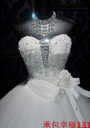 Wholesale Handmade Beading Embroidery - 2018 NEW Sexy Ball Gown Wedding Gowns Sweetheart Handmade Flower Sequin Crystal Embroidery Luxury Wedding Dresses W104