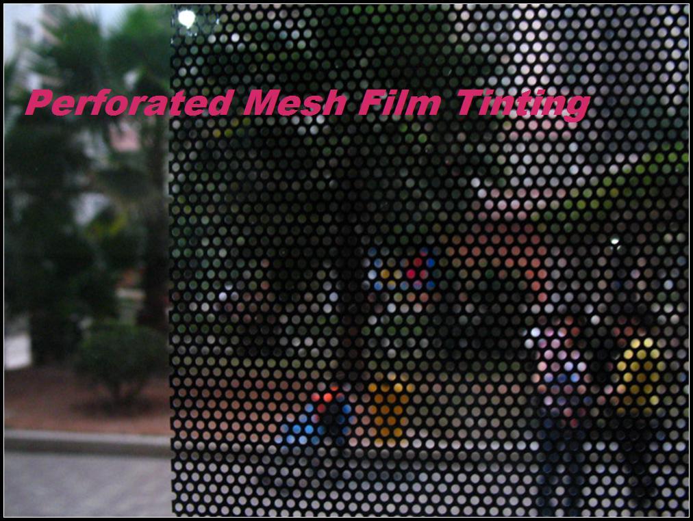 Película de la ventana perforada de calidad superior, faros de película de malla negra Tintado envoltura Fly Eye autoadhesivo vinilo 1.07x50 metros envío gratis
