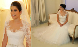 Wholesale Shine Wedding Gown - Romantic & Glamorous Sheer Lace Appliqued V-neck Shining Beading Sash Soft Tulle A-line Bridal Wedding Gowns AH415