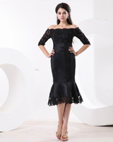Wholesale Prom Dresses Size 26 - 2016 Black Lace Off-the-Shoulder Evening dresses Wedding Dress Party dress Cocktail prom dress plus size mother of the bride dresses 26