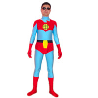 Wholesale super hero suit blue for sale – halloween Captain Planet and the Planeteers Captain Planet Costume Halloween Cosplay Party Zentai Suit