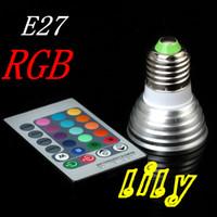 Wholesale Cheapest Mr16 Led - Led rgb bulb spotlights E27 led RGB lamp With controller 3w E27 gu10 mr16 e14 light cheapest bulbs