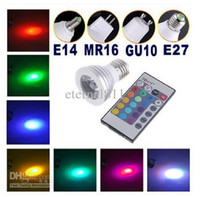 Wholesale Energy Saving Remote - Energy Saving 3W GU10 E27 MR16 RGB E14 LED Bulb Lamp light Color changing IR Remote LED RGB