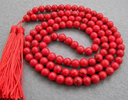 Тибетский бисера ожерелье онлайн-Азия тибетский 108 Красный Бирюзовый бисер буддийский молитва ожерелье мала
