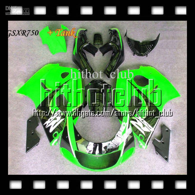 7gifts Fit SUZUKI +Tank GSX-R750 96 Green black 97 98 99 00 Q2A58 Custom GSXR 750 1996 1997 1998 98 1999 2000 GSXR750 ! GSX R750 Fairing