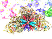 Wholesale Big Rhinestone Hair Claw Clips - BIG vintage hair Clamps claw clips Jewelry zinc alloy rhinestone crown hair claw hair clip hair accessory mixed 25pcs lot #3016