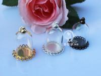 Wholesale Tiny Charm Wholesale - 10sets lot 25x18MM 25X38MM Glass Globe Necklace Pendants tiny terrarium amulet case