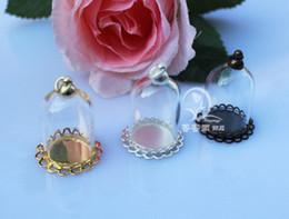 Wholesale Wholesale Glass Terrariums - 10sets lot 25x18MM 25X38MM Glass Globe Necklace Pendants tiny terrarium amulet case