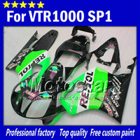 Wholesale honda rc51 motorcycle - High grade for honda VTR 1000 R body fairings 1000R VTR1000 RVT1000 SP1 RC51 fairng kit 2000-2005 green black Repsol motorcycle parts