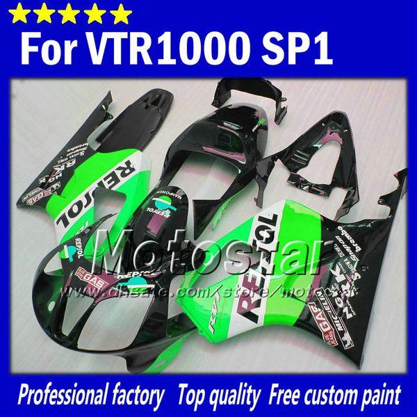 High grade for honda VTR 1000 R body fairings 1000R VTR1000 RVT1000 SP1 RC51 fairng kit 2000-2005 green black Repsol motorcycle parts