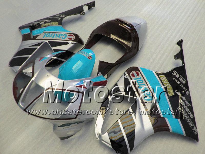 Alto grado para Honda VTR 1000 R Carnaves 1000R VTR1000 RVT1000 SP1 RC51 FAIRNG KIT 2000-2005 Glossy Wter Blue Black con 7Gifts