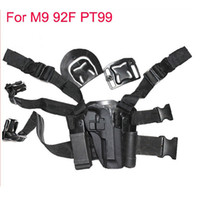 Wholesale Puttee Pistol Holster - For M9 92F pt99 Tactical Airsoft Puttee Thigh Belt Drop Leg Holster Pouch Pistol Sand Free Shipping