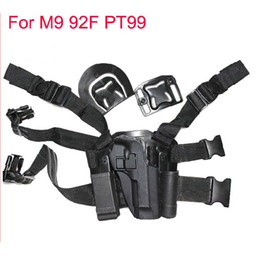 Wholesale Thigh Pouches - For M9 92F pt99 Tactical Airsoft Puttee Thigh Belt Drop Leg Holster Pouch Pistol Sand Free Shipping