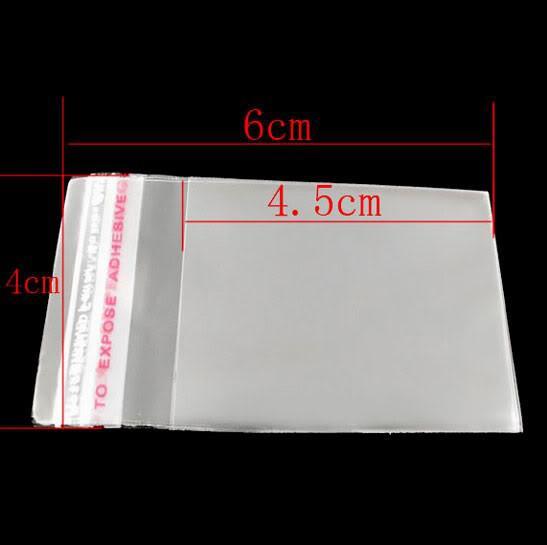 Mic An CLEAR SATE Клейкая уплотнение Пластиковые пакеты 4x6cm Ювелирные изделия Упаковка Дисплей Ювелирные Изделия сумки