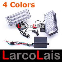 luces estroboscópicas parrilla ámbar al por mayor-TR 2x22 LED estroboscópico intermitente parrilla luz emergencia policía bomberos luces rojo azul ámbar blanco DLCL8606
