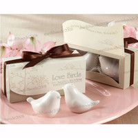 Wholesale Love Birds in the Window quot Salt Pepper Ceramic Shakers Wedding Party Favor MYY5430