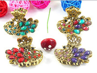Wholesale Jewelry Clamp Clasps - 4cm vintage hair Clamps clasps claw clips Jewelry alloy rhinestone crown hair claw hair clip hair accessory mixed 110pcs lot #3022