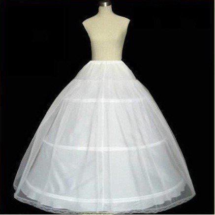Ucuz Tül Petticoat Kabarık Etek 3-Hoops Beyaz Düğün Gelin Jüpon Kayma PETTICOAT / CRINOLINE Kadınlar Lady Petticoats giymek