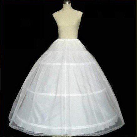 Cheap Tulle Petticoat Crinolina 3-Hoops Branco Nupcial De Casamento Underskirt Escorregar PETTICOAT / CRINOLINE Mulheres Senhora desgaste Anáguas