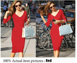 Wholesale Long Sleeve Pencil Dress Fitted - 2015 New fashion Woman 3 4 Sleeve Rockabilly Pinup Bodycon Sexy V-neck Vestidos Fitted Party Pencil Shift Sheath Dresses Wholesale