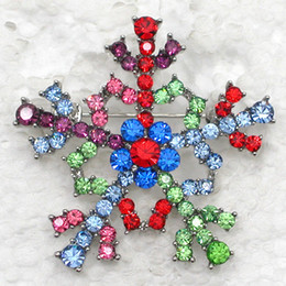 Red Indian Costumes Australia - 12pcs lot Wholesale Crystal Rhinestone Snowflake Brooches Fashion Costume Pin Brooch Christmas gift jewelry C543
