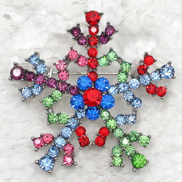 12 pcs / lot En Gros Cristal Strass Flocon De Neige Broches De Mode Costume Broche Broche De Noël cadeau bijoux C543