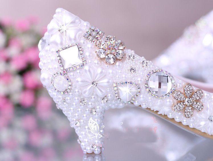 Lujoso elegante vestido de novia de perlas de imitación zapatos de novia zapatos de tacón alto de diamantes de cristal mujer zapatos de vestir de señora blanco
