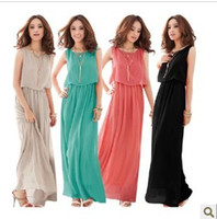 Wholesale Dress Bohenmia - Hot new with tracking number Women Bohenmia Pleated Wave Lace Strap Princess Chiffon Maxi long dress Four Colours Adeal 783