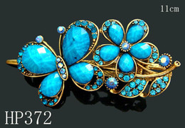 Wholesale Selling Barrettes - Wholesale hot sell Women Vintage hair jewelry rhinestone Butterfly hair clip hair accessories Free shipping 12pcs lot Mixed colors HP372