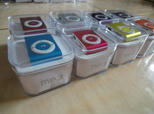 Promotion DHL 100pcs mini clip mp3 player with TF card slot MP3 ,USB ,Earphone,Box
