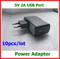 Wholesale 2a 5v Ac Dc Universal - 10pcs lot Universal Wall Charger Power Adapter AC 100-240V DC 5V 2A USB Power Supply EU US Plug for Tablet PC Not for Phones Free Shipping