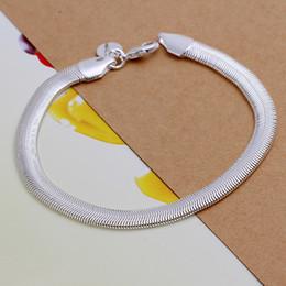 Wholesale Silver Chain 925 6mm - Fashion 925 Silver Snake Chain Bracelets Jewelry 6mm Flat Curb Snake Chain Woman Men Unisex Bracelets Hot Sale Free Shipping