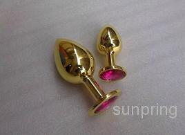 Oro Metal Mini Juguetes anales, Butt Plug, Booty Beads Acero inoxidable Crystal Jewelry Juguete del sexo 72 * 28 mm 10 unids / lote