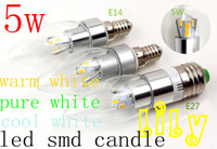 Wholesale New smd led candle light cheapest led bulb W E14 E12 E27 LED candle lamp warm white white