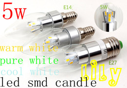 Wholesale Led Light Bulb Cheapest - New smd 5630 led candle light cheapest led bulb 5W E14 E12 E27 LED candle lamp warm white white