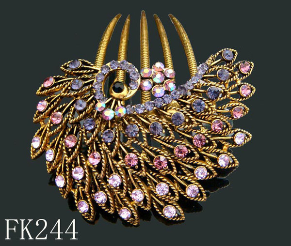 Wholesale Vintage Hair Jewelry Women Zinc alloy rhinestone hair combs Hair Accessories Free shipping 12pcs lot mixed color FK244