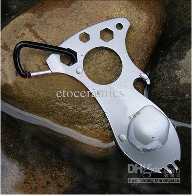 Venta al por mayor Pocket Multi Tools destornillador abrebotellas Cuchara Kits de supervivencia acampar engranaje para la caza del campo Lots200