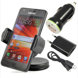Wholesale S3 Charger Holder - 4in1 Bundle Set AC HOME Charger + Holder+ Micro Data Cable + Car Auto for Samsung Galaxy S7562 i9100 I8190 S3 I9300 HTC ONE X XL M7