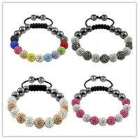 Wholesale Clay Pave Beads - Free shipping! Hot 4 color Mixed Micro Pave CZ Disco10mm Ball Bead High Quality Micro Pave Crystal Shamballa Bracelet women jewelry