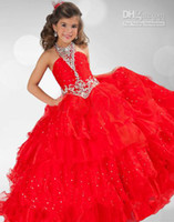 Bright Red Halter Organza Layers Girl' s Pageant Dresses...