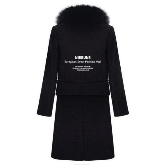Yeni monde OL ince kadın palto kadın trençkotlar Düz tipi Kürk yaka kadın Dış Giyim yün ceket siyah