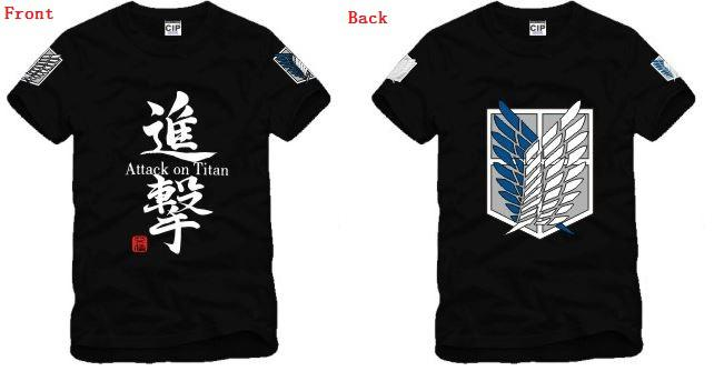 Envío gratis Tamaño chino S - XXXL retail anime japonés Ataque en Titan Scouting Legion ambos lados camiseta impresa 100% algodón