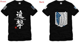 Wholesale Anime Casual - Free shipping Chinese Size S--XXXL retail japanese anime Attack on Titan Scouting Legion both sides printed t shirt 100% Cotton 6 color