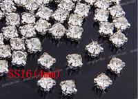 Wholesale Rhinestone Sew Loose - Free shipping SS16(4mm) Silver Loose Crystal Sew On Rhinestone Beads(1440pcs set)