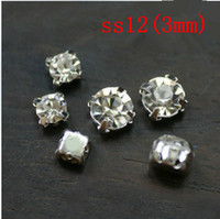 Wholesale 1440pcs set ss12 mm Silver Loose Crystal Sew On Rhinestone Beads