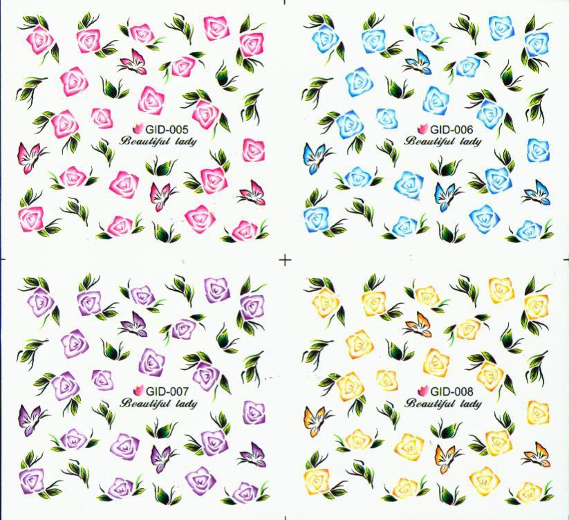 3d nail art dekoration glühen im dunkeln nagel wasser abziehbilder 20 teile / los 4in1 dekor leuchtend nagel wasseraufkleber nageldekoration
