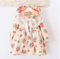 Wholesale Wholesale Boys Dress Coats Winter - girl's floral hooded dress lace long-sleeved jacket princess dress coat bow style skirt 5 p l