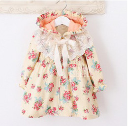 Wholesale Woolen Floral Dress - girl's floral hooded dress lace long-sleeved jacket princess dress coat bow style skirt 5 p l