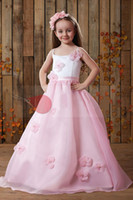 Christmas Pink Organza Straps Wedding Flower Girls' Dresses ...